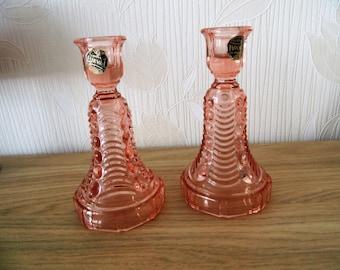 Art deco chandeliers, candlesticks Val St. Lambert-Luxval-pink glass