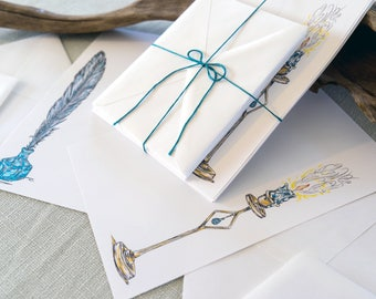 letters by candlelight penpal stationery - letter writing set on bright white paper - quill pen & ink original drawing - fantasy art