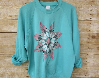 Vintage Light Blue Crew Neck  OOAK Snowflake Pullover - Quilting Club