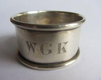 Vintage sterling silver napkin ring, hallmarked Birmingham 1953. Engraved WGK Downton Abbey, bridal shower, country house, wedding