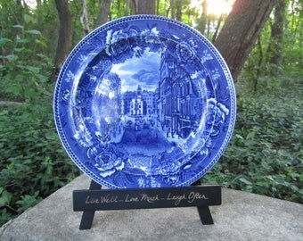 Vintage Wedgwood Transferware Plate Boston State St and Old State House in 1888 Art Blue & White Etruria Plate Historical Gift