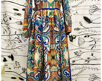 Printed cotton long dress