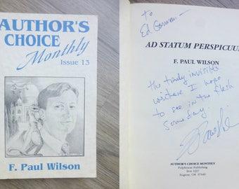 F. Paul Wilson To E Gorman Autograph Autographed Signed AUTHOR'S CHOICE MONTHLY Magazine 1990