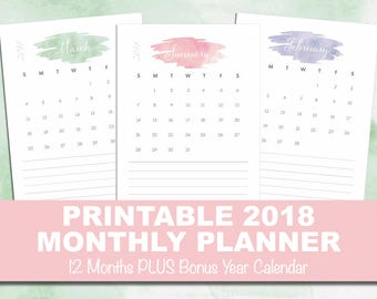 2018 Printable Monthly Planning Calendar with notes area, Printable PDF, Organiser, INSTANT DOWNLOAD