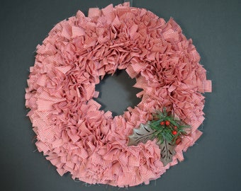 Christmas Gingham Wreath with Holly Bell