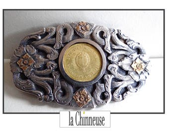 SILVER belt buckle / belt buckle Vintage silver and vermeil / Collectible / True Vintage / For him / For Her.