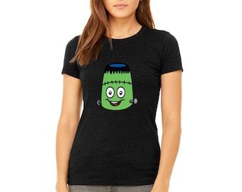 LADIES PREMIUM Tshirt Sweet Emoji Ladies T-Shirt Halloween Edition Frankenstein Monster Shirts