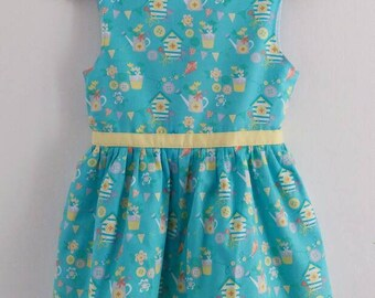 Anya Style Dress. Turquoise and Yellow Summer Dress. Party Dress. 2 - 3 years. Girls Dress. Pickle Millie.