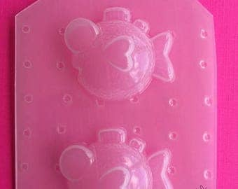 SUMMER SALE 2pc Silly Kawaii Fish Sea Life Ocean Flexible Plastic Mold For Resin Jewelry