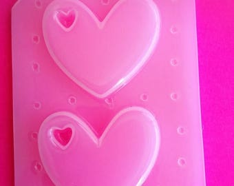 SUMMER SALE 2pc Mini Kawaii Cut Out Floating Heart Cabochon Flexible Plastic Mold For Resin Crafts Polymer Clay