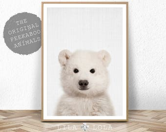 Baby Polar Bear Print, Bear Cub Animal Wall Art, Nursery Decor, Peekaboo, Printable Digital Download, Large Poster, Baby Room Art Print