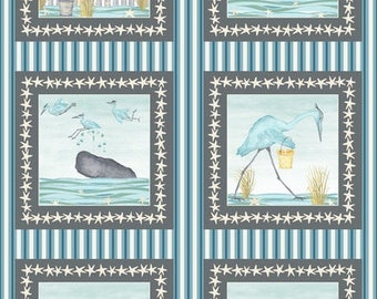 "Studio E BARNACLE BAY Quilt Fabric 24"" Panel By Debi Hubbs - Blue 3200P 11"