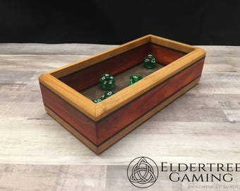 Premium Dice Tray - Personal Sized - Knight's Honor With Leather Rolling Surface - Eldertree Gaming