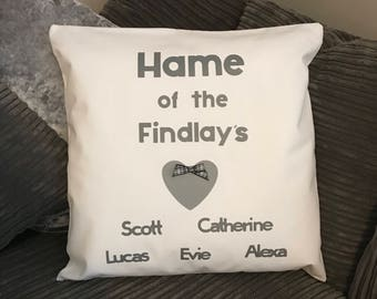 Cushion cover - family gift - personalised cushion - family names - white cushion