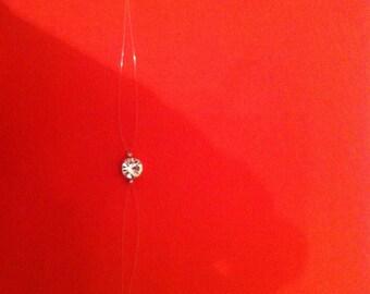 Rhinestone 7 mm Crystal silver metal finish nylon thread