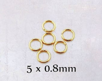 100 x Stainless Steel Gold Tone Jump Rings 5mm OD x 0.8mm WD