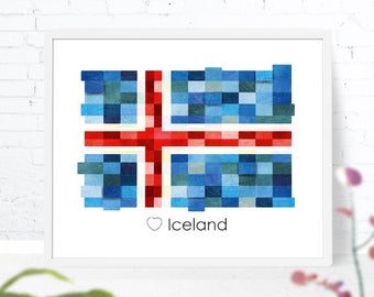 iceland flag print iceland poster wall art printable iceland print europe flags iceland download home decor