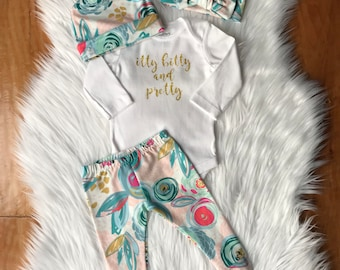 Itty bitty and pretty outfit / custom onesie / newborn girl outfit / baby gift / hospital outfit / going home outfit