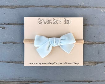 Hand tied bow, baby hair bow, baby girl headband, velvet bow, baby headband, nylon headband, baby girl bow, infant headband, newborn bows