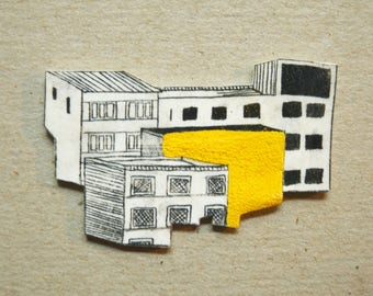 Yellow rooftops brooch pin