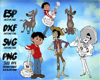 6 Disney coco SET Clipart , SVG Cutting , ESP Vectors files , T shirt , iron on , sticker ,Personal Use