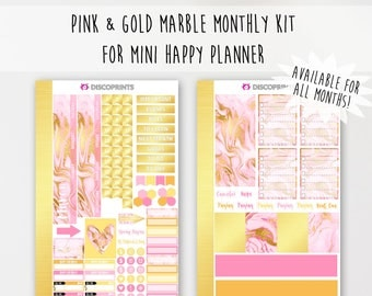 Pink & Gold Marble Monthly Kit for Mini Happy Planner