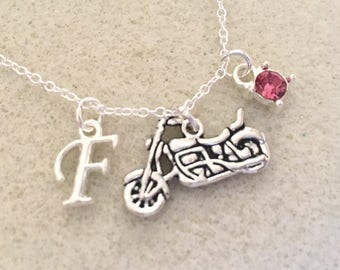 Personalized motorcycle necklace with letter motorcycle gifts motorcycle jewelry motocross mom motocross birthday motocross girlfriend gift