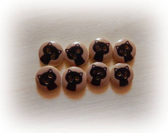 8 cat black 15 mm wooden buttons