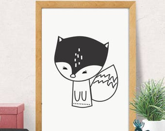 Little Fox, Printables, Wall Art, Wall Decor, Digital Artwork, Kids, Fox, Nursery, Poster