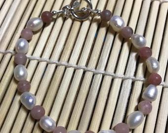 Handmade Pearl and Jasper Bracelet or Anklet