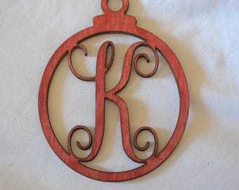 Christmas Ornament letters Red Stain