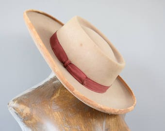 Vintage Argentinian Hat with Grossgrain Ribbon Sevillano Hat Spanish Hat