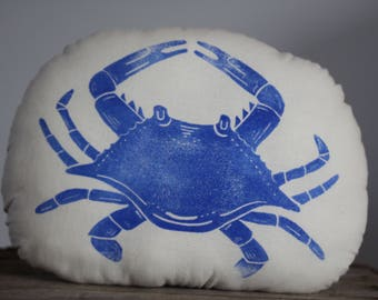 Blockprinted handprinted blue crab pillow softie