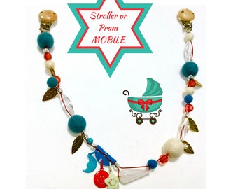 Beaded felt ball mobile for Stroller,Newborn Gift, Stroller Bling, baby shower gift, felt mobile, beaded pram mobile,Baby Mobile