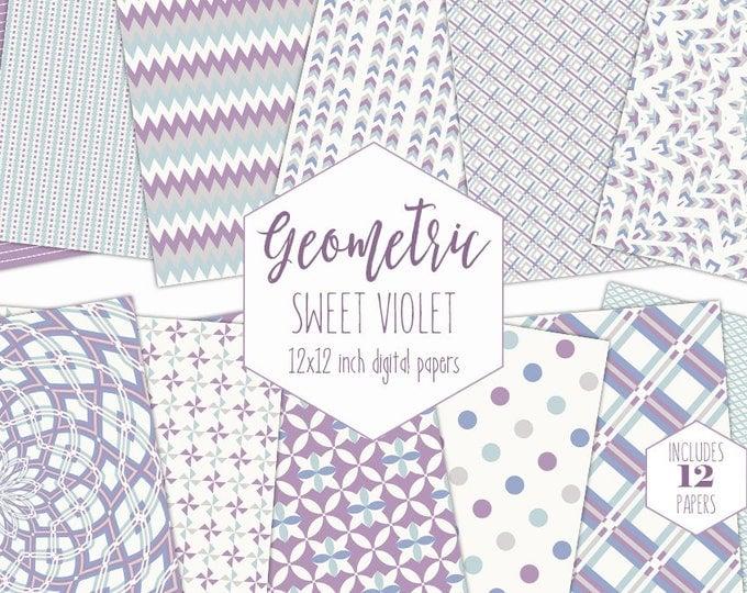 SWEET VIOLET Digital Paper Pack Purple & Mint Backgrounds Mandala Scrapbook Paper Arrow Plaid Pattern Party Printable Commercial Use Clipart