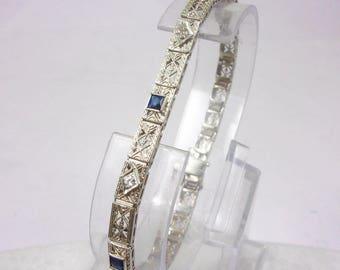 "14K White Gold Vintage Sapphire Bracelet 7.25"", 4.6mm, 7.9 grams, 1920s Art Deco"