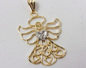 Solid 10K Yellow Gold Heart Angel Pendant Charm, 0.57 grams, Michael Anthony