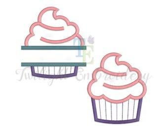 Set of 2 Cupcake Applique Machine Embroidery Designs, Cupcake Embroidery Designs, Baking Embroidery Designs 0075