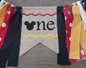 Mickey High Chair Banner, Mickey Mouse Birthday Sign, One Highchair Banner, Mickey Highchair Banner, Mickey Birthday Decor, 1st Birthday