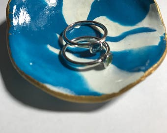 White and Blue Polymer Clay Jewelry Dish with Gold rim