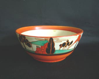 Clarice Cliff Art Deco Trees and House Fruit Bowl