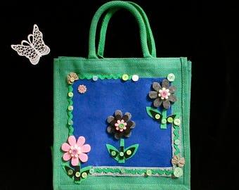 Christmas gifts,jute shopping bag,reusable bag,girl's bag,children's bag,flowered bag,felt,boho,cute bag,unique bag,flower girls bag.art bag