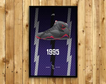"""Air Jordan 7 """"Raptors 1995"""" Sneaker Poster"""