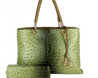 Green Two In One Ostrich Texture Tote Handbag Set