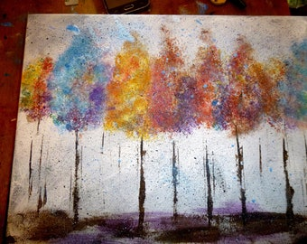 11x14 acrylic on stretched canvas serene multi colored impressionist trees