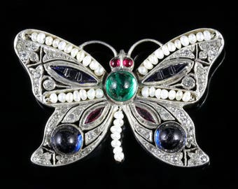 Antique Victorian Paste Butterfly Brooch Silver