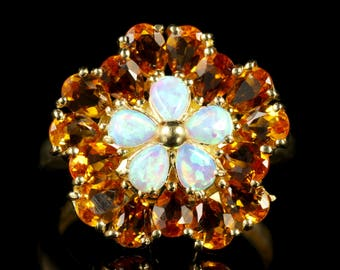 Citrine Opal Gold Cluster Ring 9ct Gold