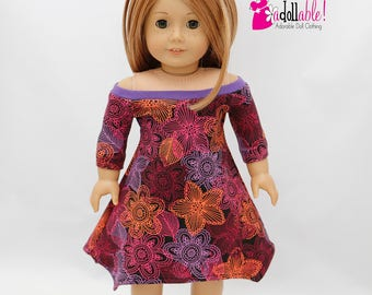 American made Girl Doll Clothes, 18 inch Doll Clothing, Purple Boatneck Floral Dress made to fit like American girl doll clothes