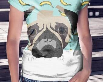 BANANA PUG, pug shirt, Pug Lover, Pug Tshirt, Pug T Shirt, pug tee, cute shirt, cute SHIRT, banana shirt, women's t-shirt, gift for her