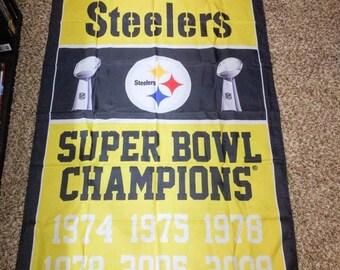PRE-SEASON SALE 30% Off Pittsburgh Steelers Super Bowl Champions Banner 3' x 5'